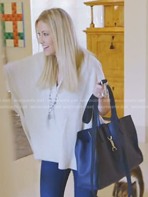 Stephanie's white v-neck sweater on The Real Housewives of Dallas