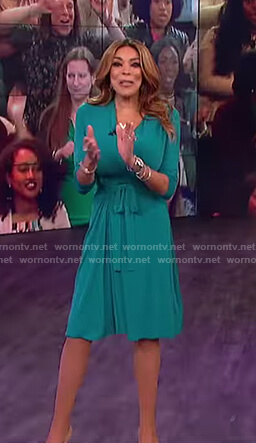 Wendy's green midi wrap dress on The Wendy Williams show