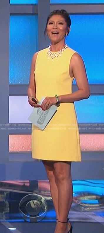 Julie's yellow mini dress on Big Brother