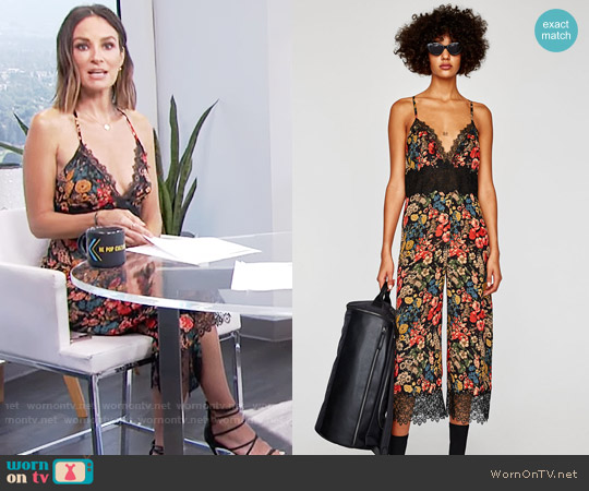 Zara Cropped Lace Jumpsuit worn by Catt Sadler on E! News