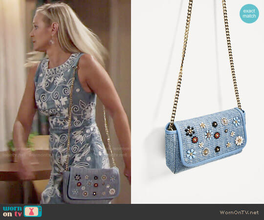 Zara Crossbody Bag with Flowers worn by Sharon Case on The Young & the Restless