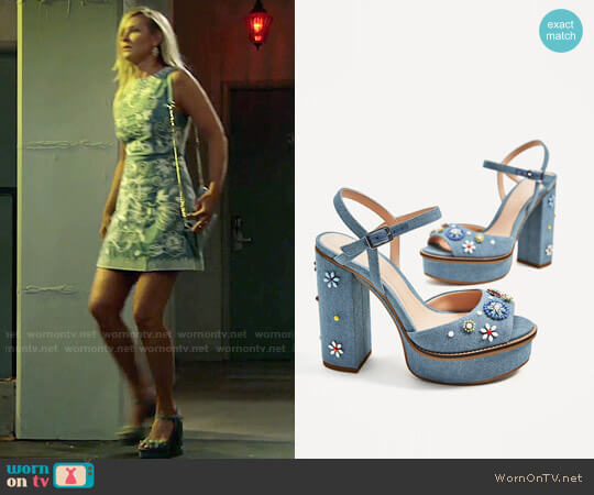 Zara Floral Platform Sandals worn by Sharon Collins on The Young & the Restless