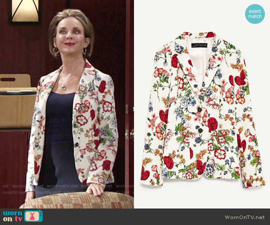Zara Floral Print Jacket worn by Judith Chapman on The Young & the Restless