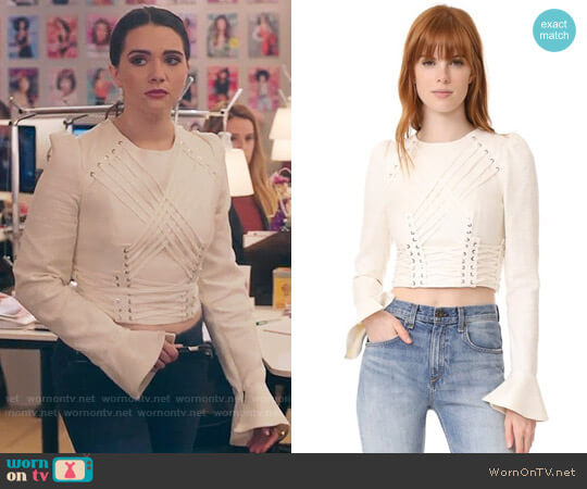 Zimmermann Cavalier Tie Up Blouse worn by Katie Stevens on The Bold Type