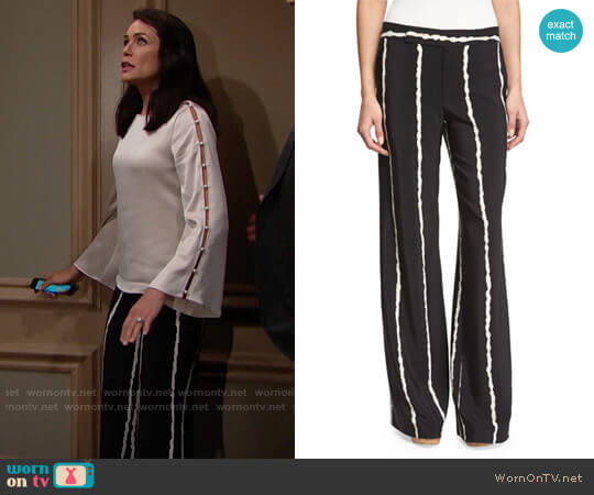 10 Crosby by Derek Lam Striped Silk Wide-Leg Trousers worn by Quinn Fuller (Rena Sofer) on The Bold & the Beautiful
