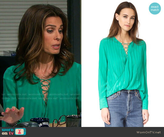 10 Crosby Derek Lam Lace Up Drape Front Blouse worn by Hope Williams (Kristian Alfonso) on Days of our Lives