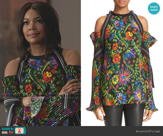 3.1 Phillip Lim Floral Cold Shoulder Top worn by Mary Jane Paul (Gabrielle Union) on Being Mary Jane