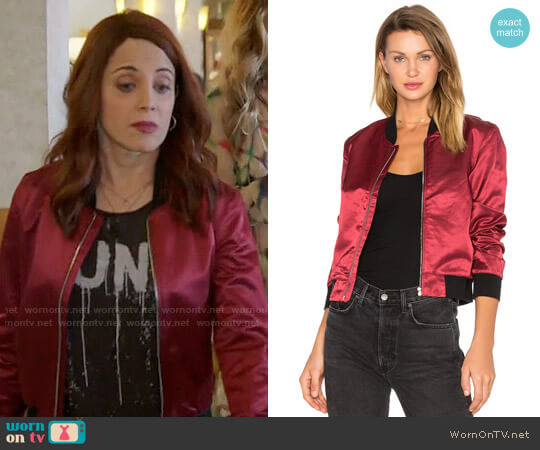 3x1 Satin Bomber Jacket worn by Alanna Ubach on GG2D