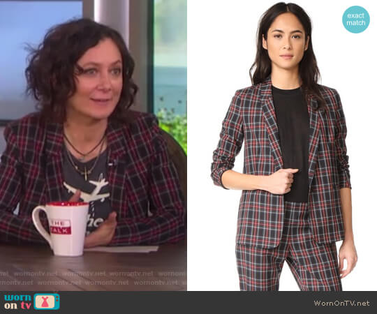 Mini Lapel Blazer by 6397 worn by Sara Gilbert on The Talk