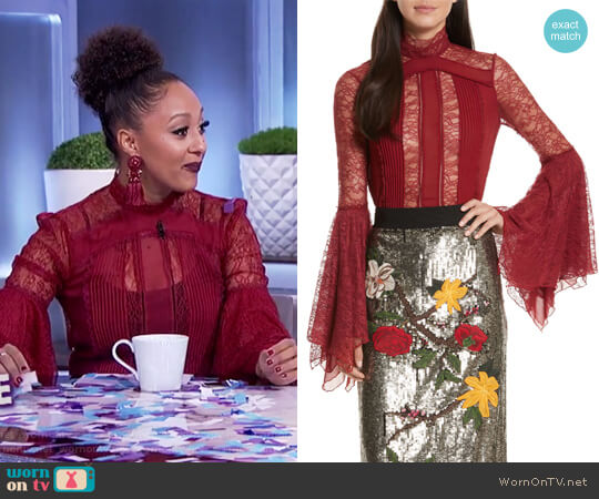 Ivy Handkerchief Sleeve Silk Top by Alice + Olivia worn by Tamera Mowry on The Real