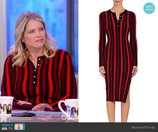 Striped Rib-Knit Dress by Altuzarra worn by Sara Haines on The View