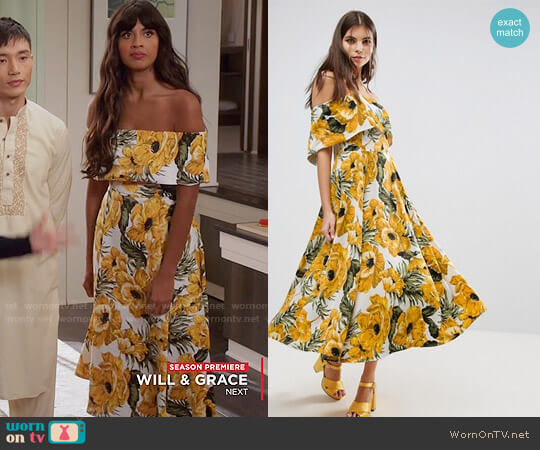 ASOS Golden Floral Bardot Midi Dress worn by Jameela Jamil on The Good Place