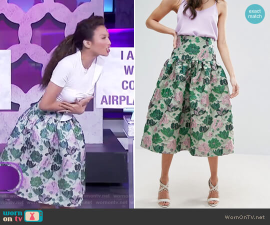 Prom Skirt with Deep Basque in Floral Jacquard by ASOS worn by Jeannie Mai on The Real