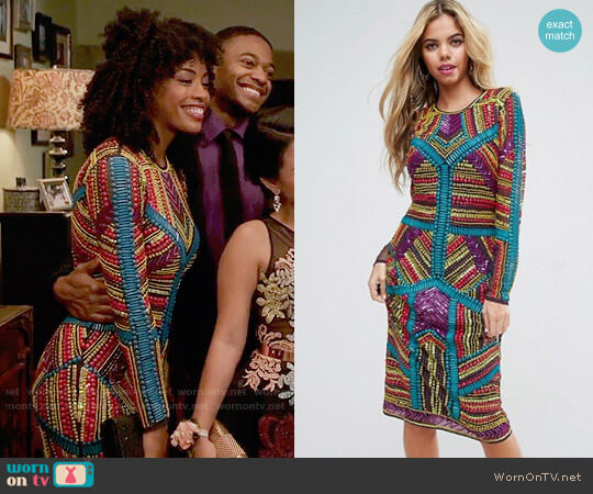 ASOS RED CARPET Geo Multi Coloured Embellished Midi Dress worn by Olivia on The Fosters