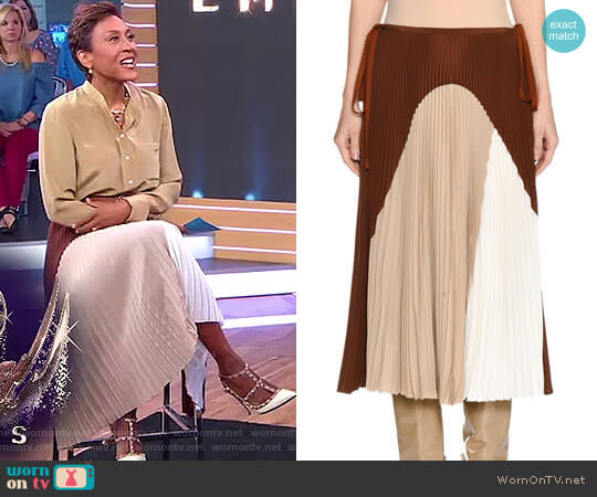 Colorblock Pleated Midi Skirt by Agnona worn by Robin Roberts on Good Morning America