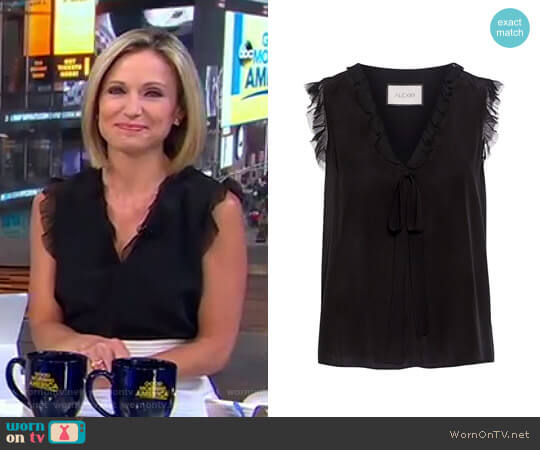 Jansen V-Neck Ruffle Silk Blouse by Alexis worn by Amy Robach  on Good Morning America