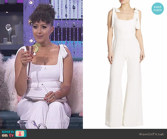 'Lincoln' Bow-Detail Microdot Jumpsuit by Alexis worn by Tamera Mowry on The Real