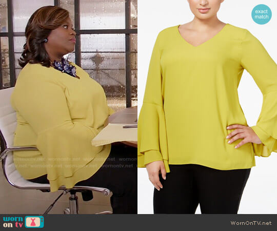 Alfani Plus Size Bell-Sleeve Blouse worn by Retta on GG2D