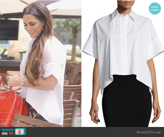'Edyth' High-Low Short-Sleeve Shirt by Alice + Olivia worn by D'Andra Simmons on The Real Housewives of Dallas