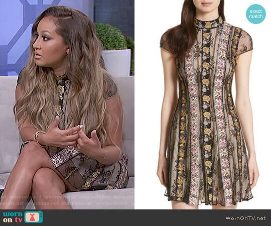 'Gwyneth' Embroidered Floral Dress by Alice + Olivia worn by Adrienne Houghton  on The Real
