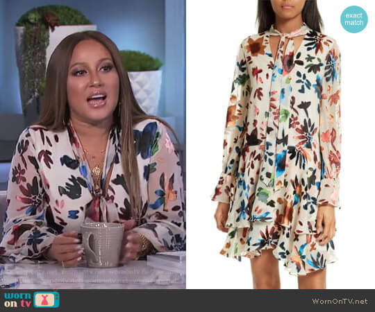 'Moore' Tiered Floral A-Line Dress by Alice + Olivia worn by Adrienne Houghton on The Real