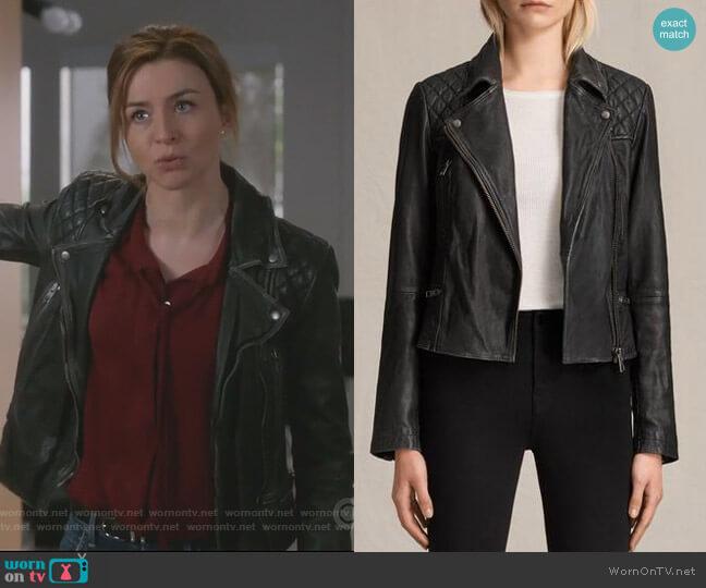 Cargo Biker Jacket by All Saints worn by Caterina Scorsone on Greys Anatomy