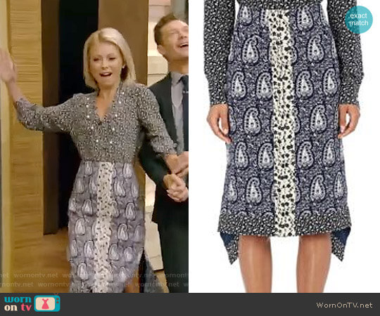 Cyrus Silk Jacquard Printed Skirt by Altuzarra worn by Kelly Ripa  on Live with Kelly & Ryan