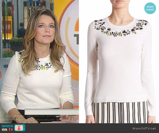 'Hermione' Floral-Embellished Merino Wool Sweater by Altuzarra worn by Savannah Guthrie on Today