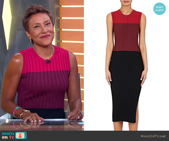 'Mariana' Rib-Knit Fitted Dress by Altuzarra worn by Robin Roberts on Good Morning America