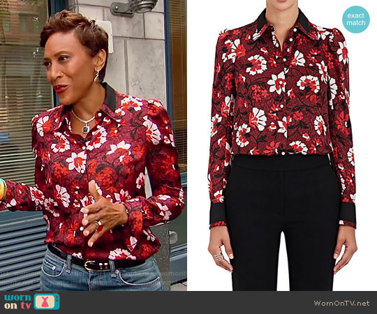 Marlowe Floral Silk Blouse by Altuzarra worn by Robin Roberts on Good Morning America