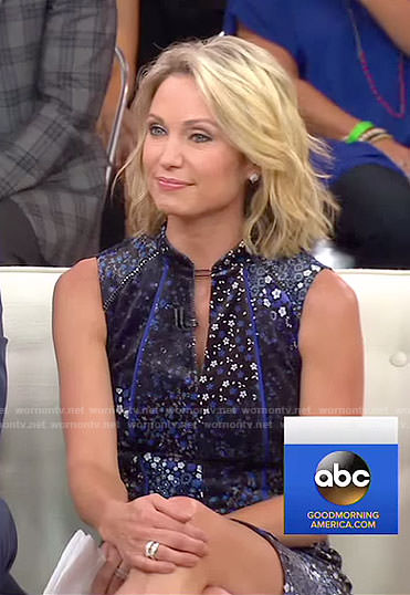 Amy's blue floral sleeveless dress on Good Morning America