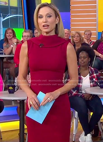 Amy's red high-neck dress on Good Morning America