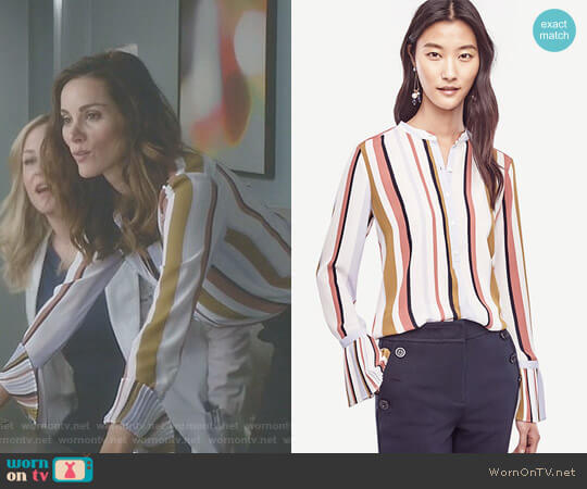 Stripe Pleated Cuff Blouse by Ann Taylor worn by Carina DeLuca (Stefania Spampinato) on Greys Anatomy