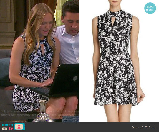 Aqua Cutout Mock Neck Floral Dress worn by Marci Miller on Days of our Lives