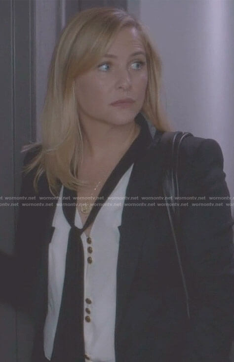 Arizona's white tie blouse with gold buttons on Grey's Anatomy