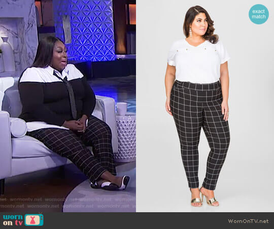 Windowpane Dress Pants by Ashley Stewart worn by Loni Love  on The Real