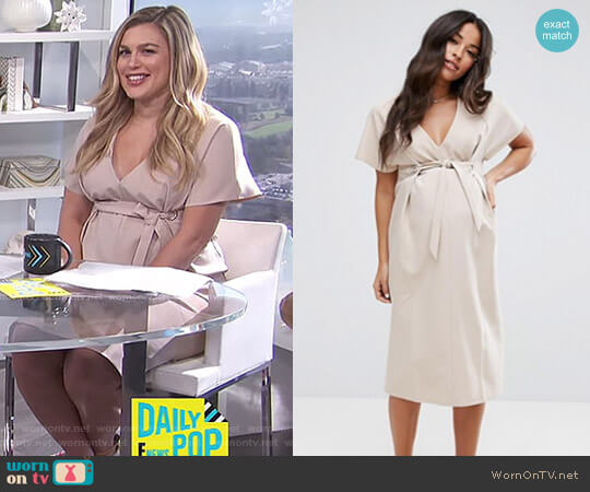 Plunge Neck Midi Column Dress with Eyelet Detail and Tie by ASOS worn by Carissa Loethen Culiner  on E! News