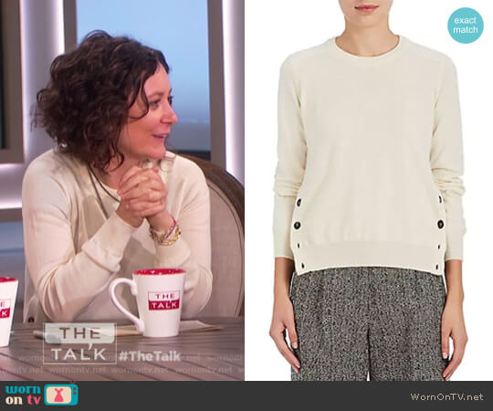 Button-Vent Cashmere Sweater by Barneys New York worn by Sara Gilbert on The Talk