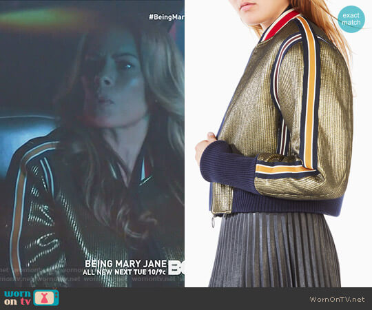 'Andreas' Metallic Bomber Jacket by Bcbgmaxazria worn by Lisa Vidal on Being Mary Jane