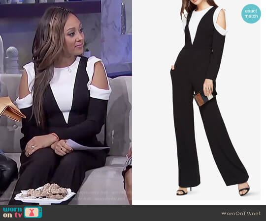 Barrett Cold-Shoulder Jumpsuit by Bcbgmaxazria worn by Tamera Mowry  on The Real