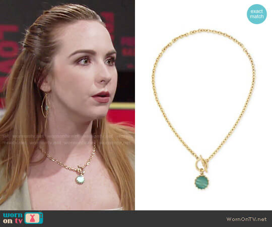 Bcbgeneration Gold-Tone Green Stone Toggle Pendant Necklace worn by Mariah Copeland (Camryn Grimes) on The Young & the Restless