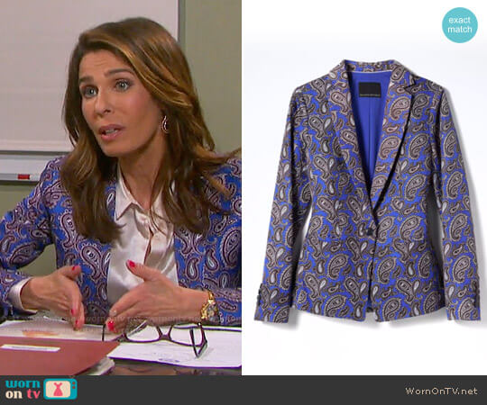 Banana Republic Paisley Linen-Blend Blazer worn by Kristian Alfonso on Days of our Lives