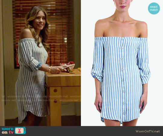 Bella Dahl Off the Shoulder Button Down Dress worn by Kara Lynch (Lisa Vidal) on Being Mary Jane