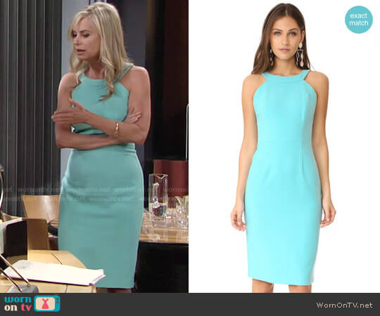 Black Halo Marcelle Dress in Atlantic Aqua worn by Eileen Davidson on The Young & the Restless