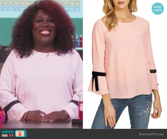 Tie Bell Sleeve Blouse by Cece worn by Sheryl Underwood  on The Talk
