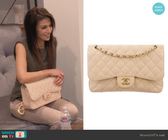 Classic Jumbo Double Flap Bag by Chanel worn by Peggy Sulahian  on The Real Housewives of Orange County
