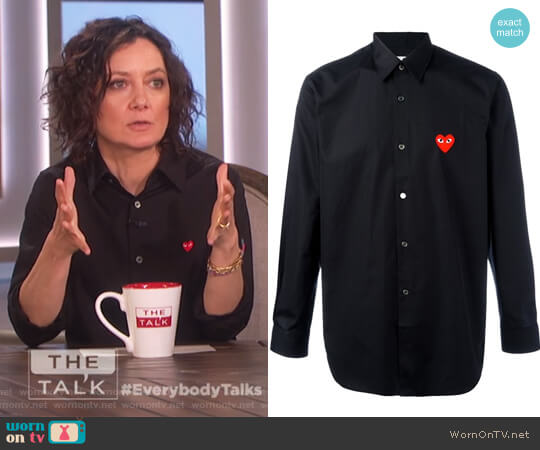 Embroidered Heart Shirt by Comme Des Garcons Play worn by Sara Gilbert  on The Talk