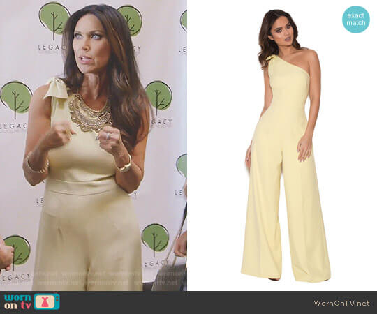 'Courvel' Pastel Lemon One Shoulder Jumpsuit by House of CB worn by LeeAnne Locken  on The Real Housewives of Dallas