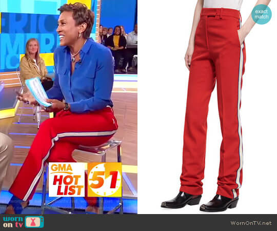Side-Stripe Wool Twill Pants by Calvin Klein worn by Robin Roberts on Good Morning America