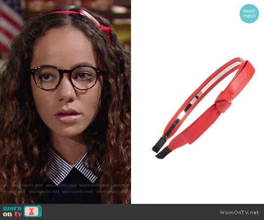 Cara Faux Leather Bow Headband worn by Mattie Ashby (Lexie Stevenson) on The Young & the Restless